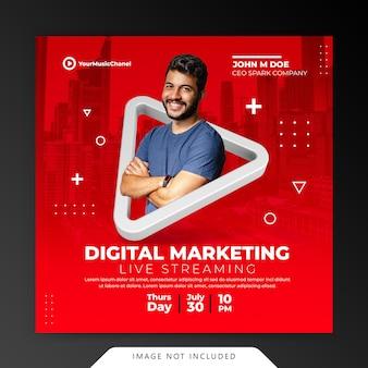 Creative concept live streaming workshop instagram post social media marketing promotion template