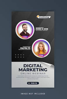 Креативная концепция прямой эфир семинар маркетинг в социальных сетях реклама instagram истории шаблон