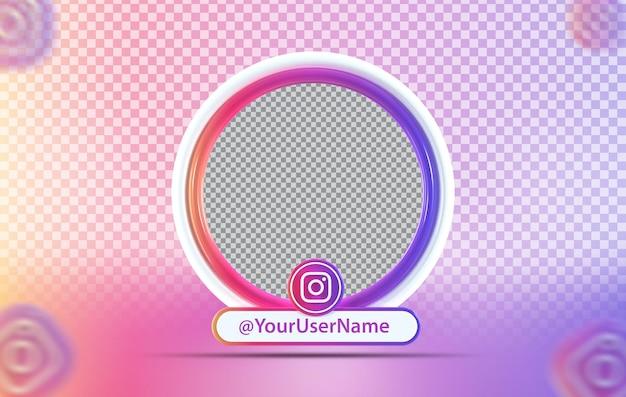 Instagramアイコンとクリエイティブコンセプトのモックアッププロファイル