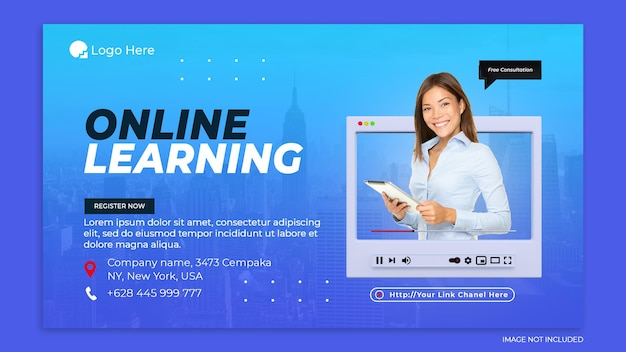 Creative concept online learning and social media post template