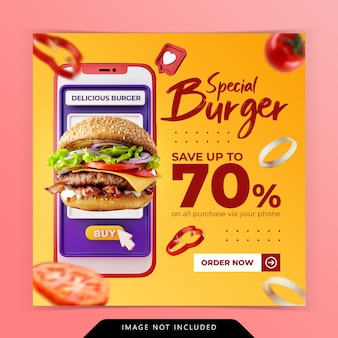 Creative concept online order burger menu promotion social media banner template
