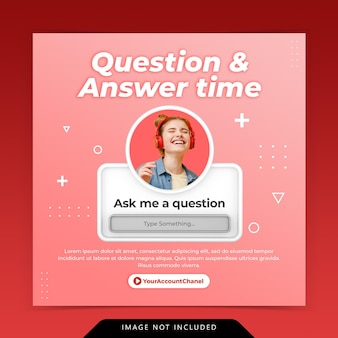 Creative concept question and answer time for social media post instagram template