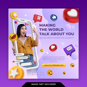 Creative concept social media instagram live for digital marketing promotion template
