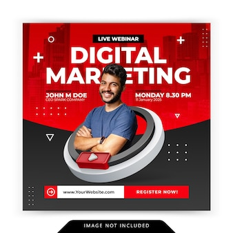 Creative concept social media instagram live for digital marketing promotion workshop template