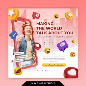 Креативная концепция в социальных сетях instagram live для шаблона продвижения цифрового маркетинга