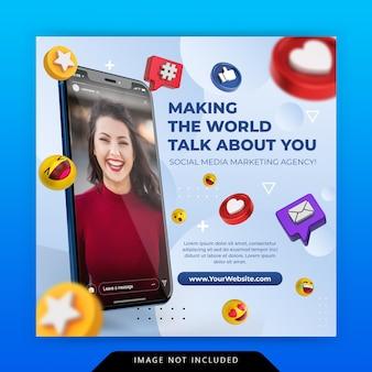Креативная концепция в социальных сетях instagram в прямом эфире для шаблона продвижения цифрового маркетинга