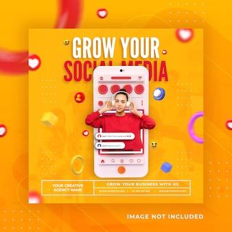 Креативная концепция поста в социальных сетях instagram для шаблона продвижения цифрового маркетинга