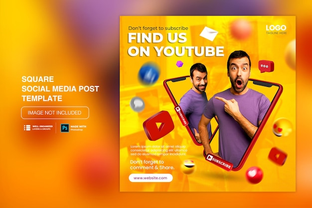 Creative concept social media youtube channel promotion for instagram post template
