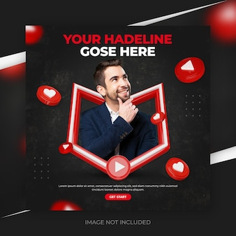 Creative concept social media youtube channel promotion post with 3d template