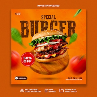Creative concept special burger menu on wooden promotion social media banner template