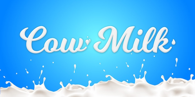 Creative cow milk text style effect