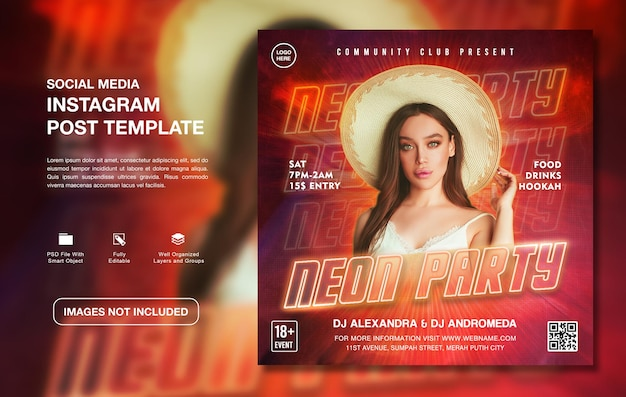 크리에이티브 dj 네온 파티 프로모션 인스타그램 포스트 템플릿