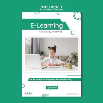 Creative e-learning flyer template with photo