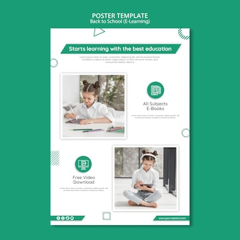 Creative e-learning poster template