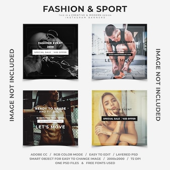 Creative fashion and sport discounts instagram banners