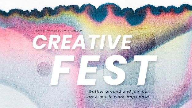 Creative fest colorful template psd in chromatography art ad banner