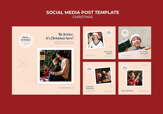 Creative festive christmas ig posts pack