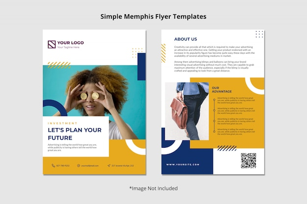 Creative finance investment brochure flyer template simple clean abstract memphis