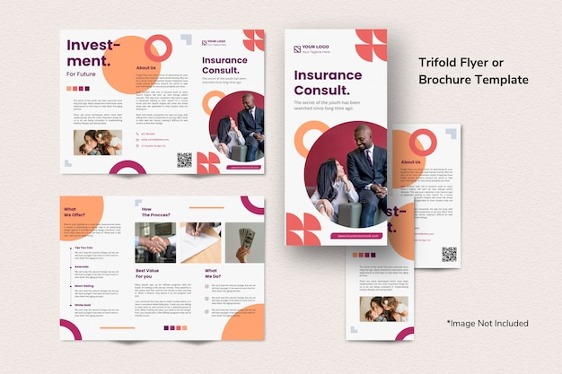 Creative finance investment brochure trifold template simple clean abstract memphis