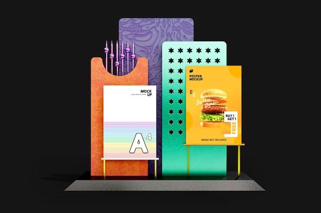 크리 에이 티브 전단지 및 포스터 목업 디자인