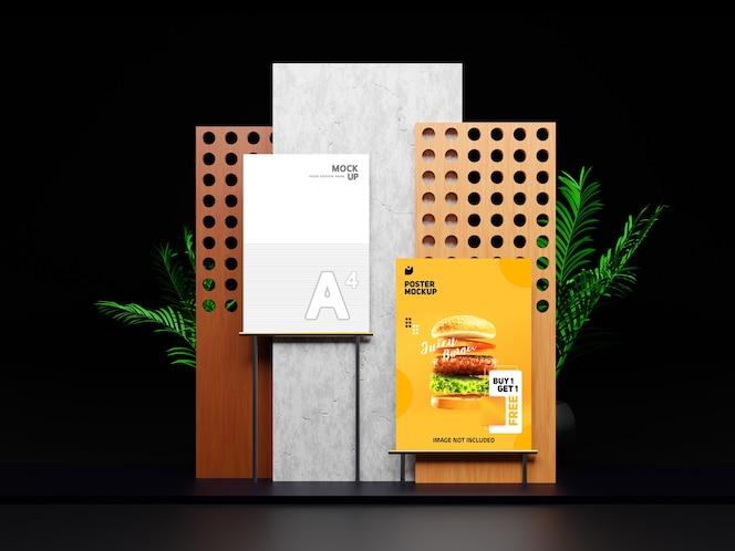 디자인을 보여주는 크리에이티브 플라이어 및 포스터 목업