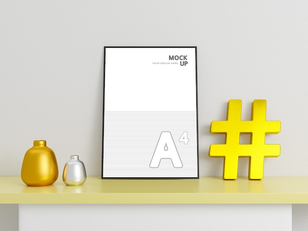 Creative flyer and poster mockups with golden hashtag