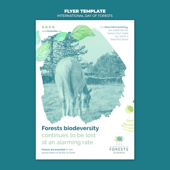 Creative forests day flyer template