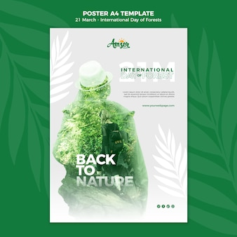 Creative forests day poster template with photo