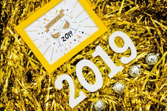 Creative happy new year 2019 mockup