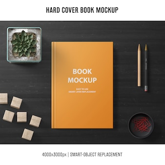 Creative hard cover book mockup