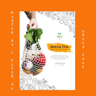 Creative healthy food poster template with picture