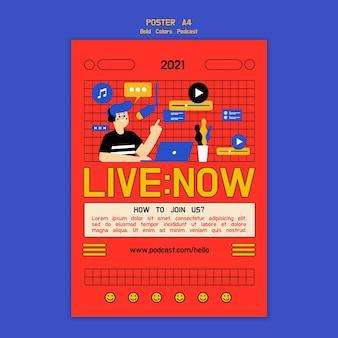 Креативный иллюстрированный шаблон постера подкаста