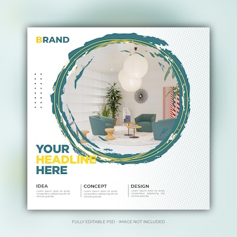 Creative interior square social media banner template