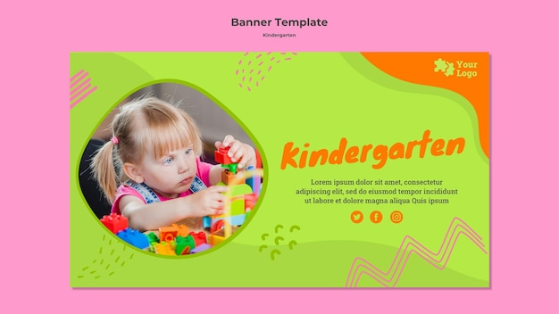 Creative kindergarten banner template with photo