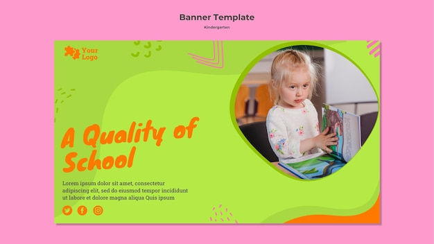 Creative kindergarten horizontal banner with photo
