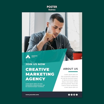 Creative marketing agency poster template