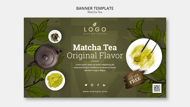 Creative matcha tea banner template