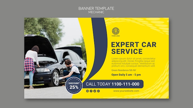 Creative mechanic banner template with photo of car