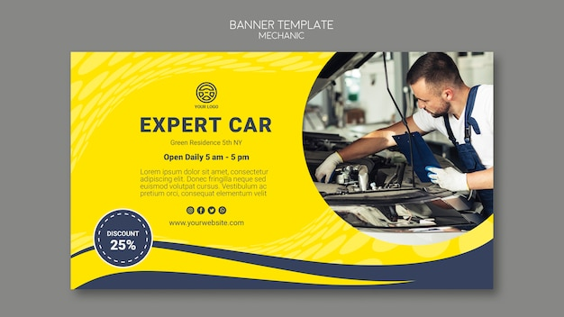 Creative mechanic banner template with picture