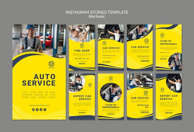 Creative mechanic instagram stories templates with photo