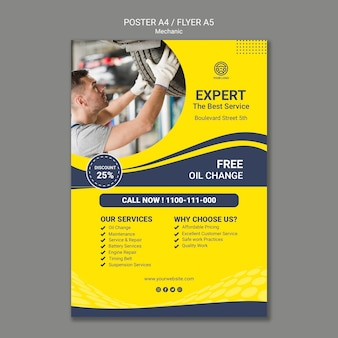 Creative mechanic poster template with photo