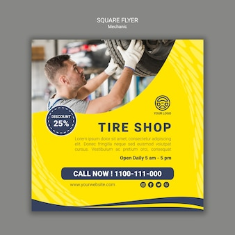 Creative mechanic square flyer template with photo