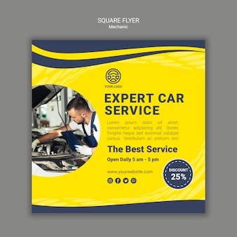 Creative mechanic square flyer template