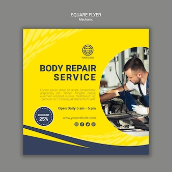 Creative mechanic square flyer with photo