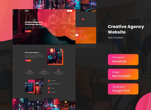 Creative and media agency website template in dark mode