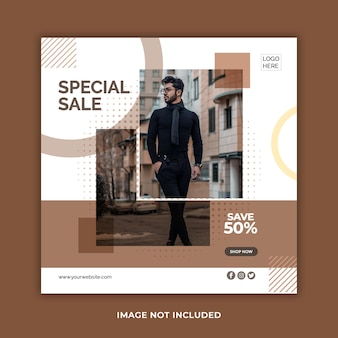 Creative minimal fashion sale social media banner or instagram post template
