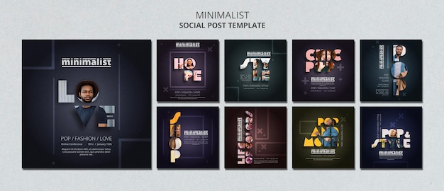 Creative minimalist instagram posts template