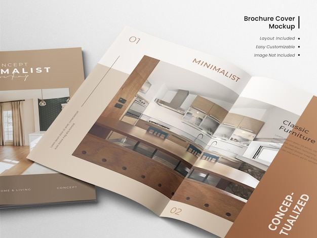 Creative and minimalist modern spread close up view of brochure or magazine catalog mockup with template layout design