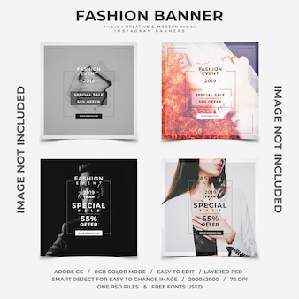 Creative and modern fashion discounts instagram banners