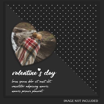 엽서 템플릿-창조적 인 현대 낭만적 인 발렌타인 데이 인스 타 그램 및 사진 모형